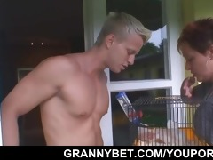 gorgeous neighbour granny gets banged by hung guy