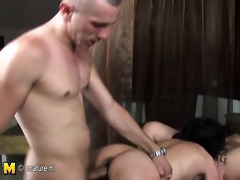 three mature mothers get drilled by two sexually