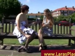 aged lady picks up younger girl for her excitement