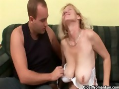 aged mama with big bazookas and hairy pussy