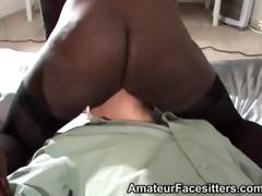 2 sturdy black girls facesit a much older older