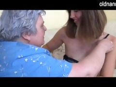 old breasty granny playing with slender girl