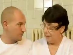 slutty granny fucks by sauna