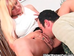 sexually excited grandma sucks cock and receives