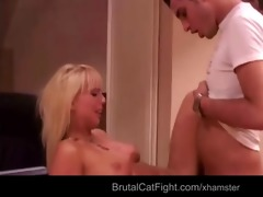angry youthful wife punishes hard hers old hubby
